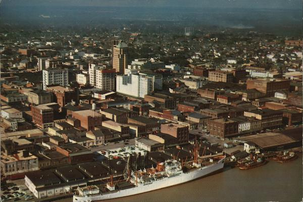 Aerial View over Downtown and Mobile River Alabama