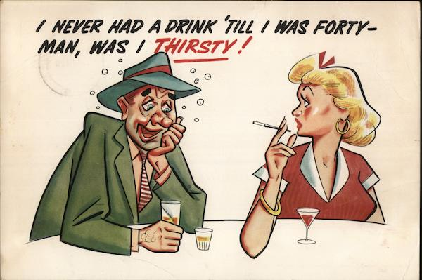 Man & Woman Drinking at Table Comic, Funny