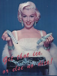 Marilyn Monroe Wearing and Holding Diamond Jewelry