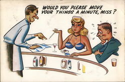Barman Asking Woman to Move her Chest Off Bar Cartoon