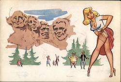 Mt. Rushmore Staring at Girl Adjusting Stockings
