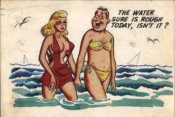 Cartoon: Man and Woman in Water in Each Other's Clothes