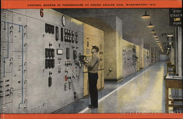 Control Boards in Powerhouse, Grand Coulee Dam Washington