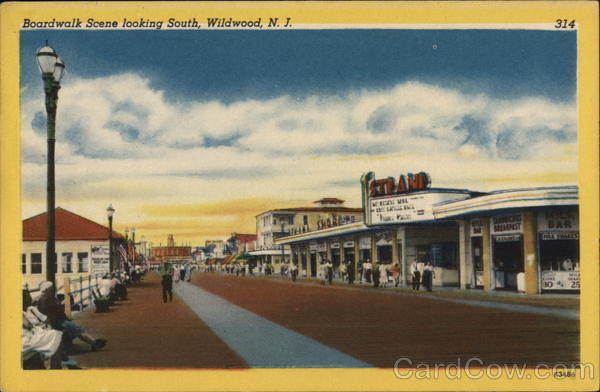 Boardwalk Scene looking South Wildwood New Jersey