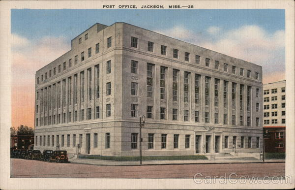 jackson post office post office jackson ms postcard 350
