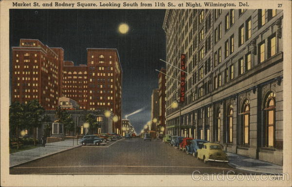 Market St. and Rodney Square, Looking South from 11th St. at Night Wilmington Delaware