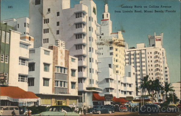 Looking North on Collins Avenue from Lincoln Road Miami Beach Florida