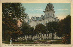 View in Washington Park, Showing High School Postcard