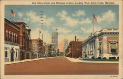 Post Office (Right) and Michigan Avenue, Looking West Postcard