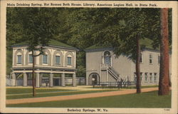 Main Drinking Spring, Hot Roman Bath House, Library, American Legion Hall Postcard