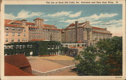 The Inn at Buck Hill Falls, Pa Entrance and New East Wing Postcard