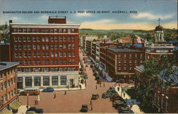 Washington Square and Merrimack Street, U.S. Post Office on Right