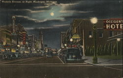 Western Avenue, at night, Muskegon Michigan
