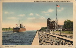 Steamer Entering Muskegon Harbor