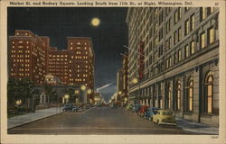 Market St. and Rodney Square, Looking South from 11th St. at Night