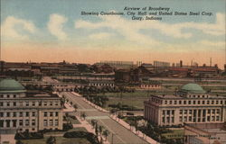 Airview of Broadway, Showing Courthouse, City hall and United States Steel Corp