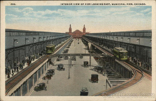 Interior View of Pier Looking East, Municipal Pier Chicago Illinois