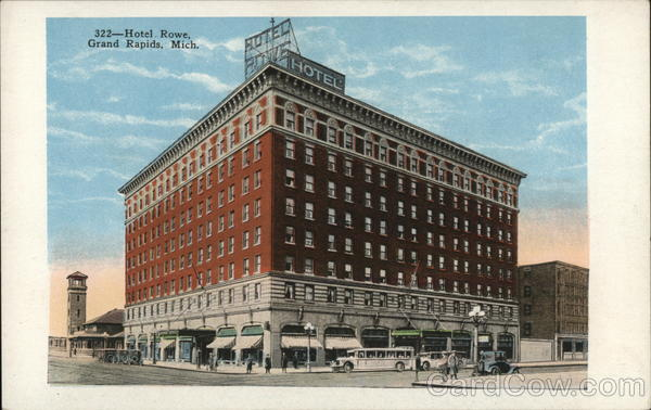hotel rowe grand rapids mi postcard. Black Bedroom Furniture Sets. Home Design Ideas