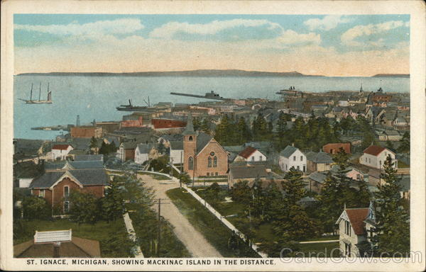 View of Town, Showing Mackinac Island in the Distance Saint Ignace Michigan