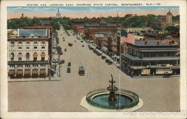 Dexter Ave. Looking East, Showing State Capitol Montgomery Alabama