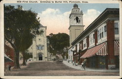 First Church, Entrance to Burial Hill Postcard