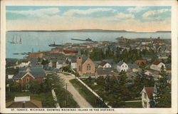 View of Town, Showing Mackinac Island in the Distance