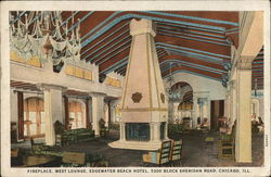 Fireplace, West Lounge, Edgewater Beach Hotel, 5300 Block Sheridan Road