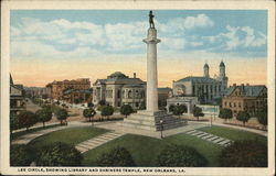 Lee Circle, Showing Library and Shriners Temple