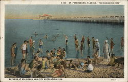 Bathers at Spa Beach and City Recreation Pier