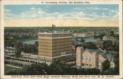 Bird's Eye View From Phell Building Showing Suwanee Hotel and First Ave. ME Church