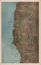 Partial Map of California Coast Postcard