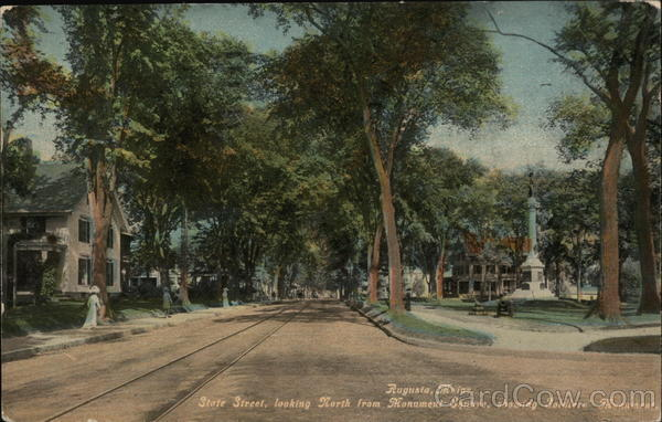 State Street, Looking North from Monument Square, showing Soldier's Monument Augusta Maine