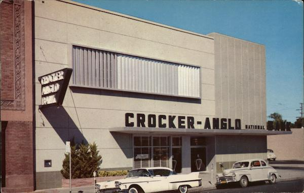 Valley National Bank Stock Quote: Crocker-Anglo Bank Building Merced, CA Postcard