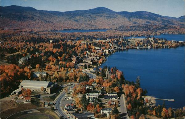 Aerial View of Lake Placid Village showing Olympic Arena New York