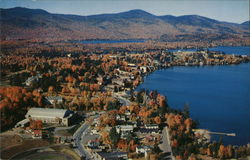 Aerial View of Lake Placid Village showing Olympic Arena