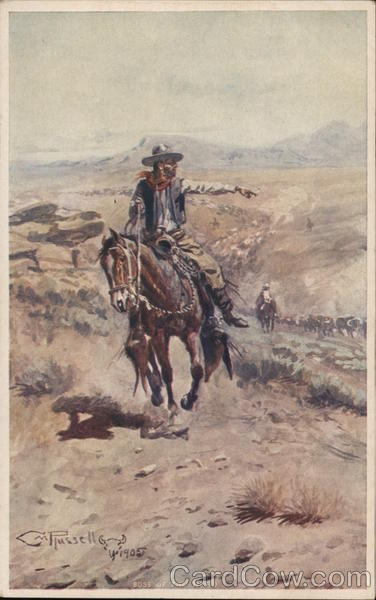 Cowboy Watching Cattle Drive Charles Marion Russell