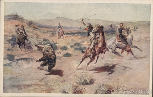 Cowboys Roping a Bear Charles Marion Russell Cowboy Western