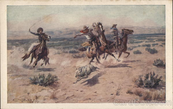 Cowboys Roping Wolf Charles Marion Russell Cowboy Western