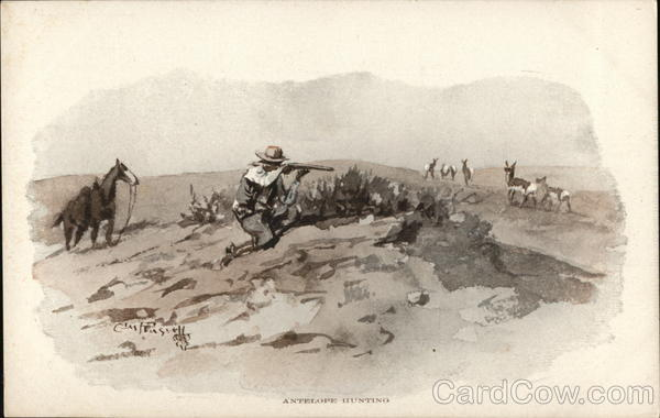 Antelope Hunting Charles Marion Russell Cowboy Western