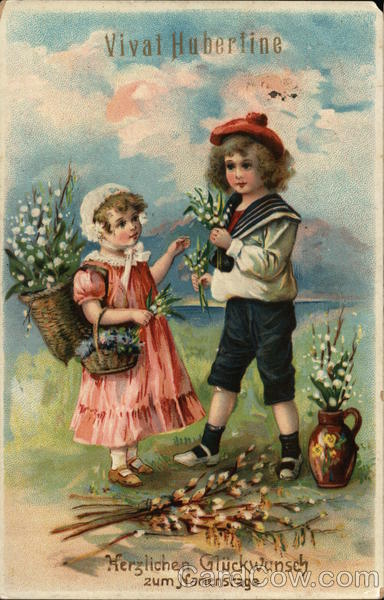 Two Children Picking Lily of the Valley Flowers Postcard