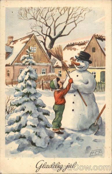 Child Placing Broom in Snowman's Hand