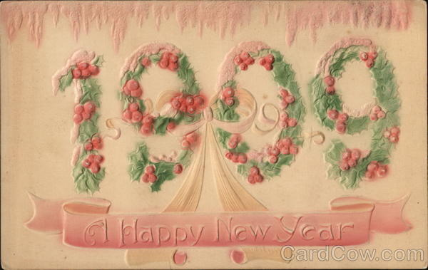 1909--A Happy New Year Year Dates Airbrushed
