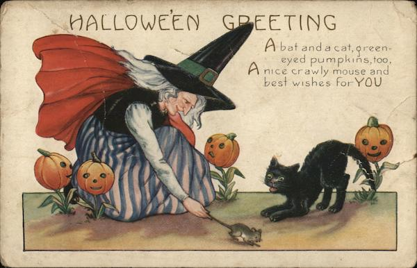 Witch Catching Mouse for Cat Halloween