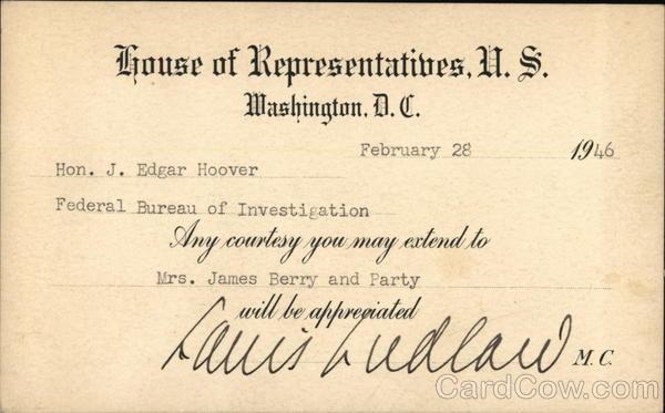 1946 House of Respresentatives, US, J. Edgar Hoover