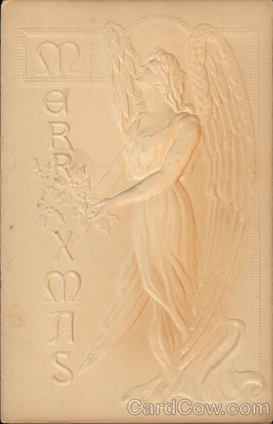 Embossed Angel Holding a Bouquet of Holly Angels Airbrushed