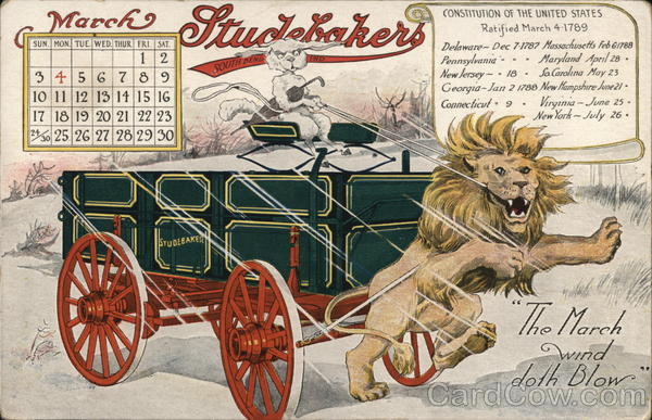 Lion Pulling Studebaker Cart March Calendar South Bend Indiana