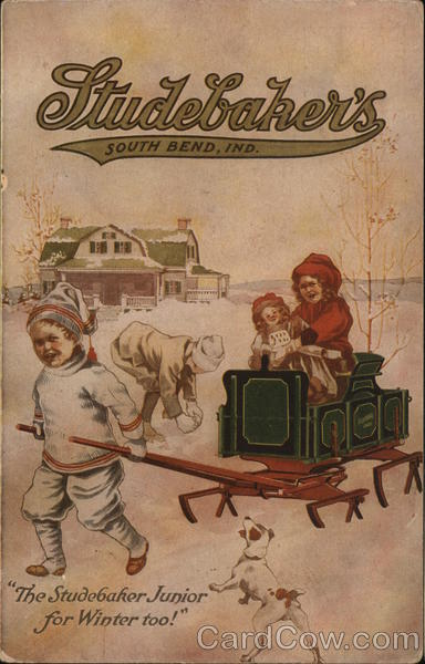 Boy Pulling Small Studebaker Sled Advertising Children