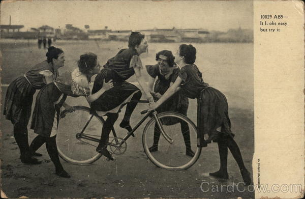 It looks easy, but try it! Girls with Bicycle Bicycles