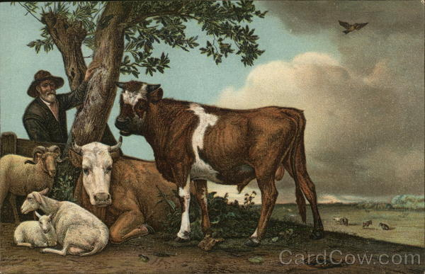 A Man with Barn Animals by a Tree Cows & Cattle