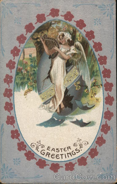 Woman Angel Playing Harp With Angels Postcard-4013